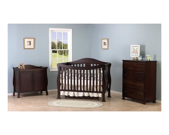 DaVinci - Parker Three Piece Convertible Crib Nursery Set with Toddler Rail in Coffee - A convertible crib set with an elegant swooping front. This grand-standing crib features a solid front side with no moving parts and is designed for mothers to take their little ones out of the crib with little effort. A day bed conversion guard rail, full size headboard and footboard complete the bed. The adjustable, three level mattress spring system accomodates your baby's growth. Additional trundle drawer is included for added storage space on the bottom. This crib set also comes with the two-door changer which has plenty of space for all your baby's essentials. Features: -Parker Convertible Crib, Toddler Rail, Parker Two Door Changer & Parker 4-Drawer Dresser included in set. -Convertible Crib: Converts from crib, toddler bed, daybed, full bed. -Toddler rail included. -Trundle drawer included for extra storage space underneath. -Constructed from New Zealand Radiata Pine Wood. -Assembly required. -Included is the two-door changer with ample storage space. -Optional, matching four-drawer dresser available. -Optional full size rail kit conversion kit. -This is a NON-Drop Side crib. About New Zealand Radiata Pine Wood: Radiata Pine, better known as 'New Zealand Pine' is a softwood tree that contains many properties that make it very suitable for furniture and furniture making. It has a density equal to that of hardwoods like poplar, mahogany and oak. Its uniform density ensures a smooth and consistent texture and confers its excellent machining, painting and staining properties; there is almost no variation in color between pieces. DaVinci's pine wood originates from forests maintained by managers that enforce environmental responsibility and the conservation of forest wildlife. ***Please note that these products cannot be shipped to Alaska, Hawaii, or Puerto Rico. We apologize for the inconvenience - feel free to call us regarding alternatives! This Crib is approved for use in 