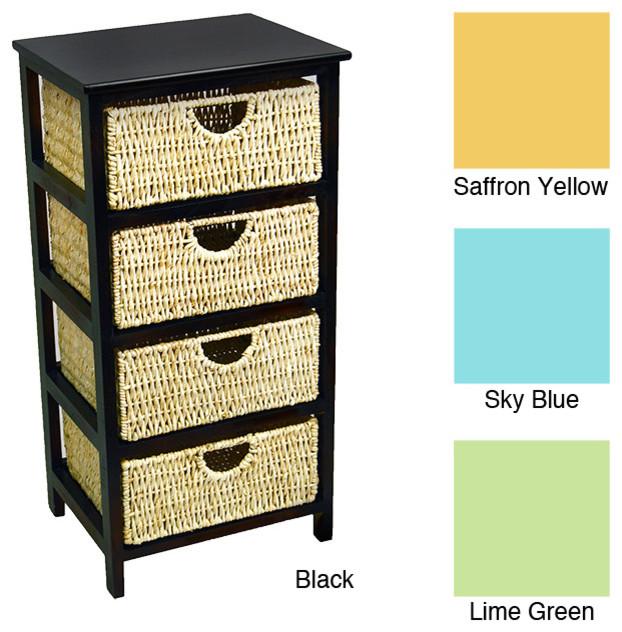 4 Drawer Compact Wicker Basket Storage Shelf - Contemporary - Baskets - by Overstock.com