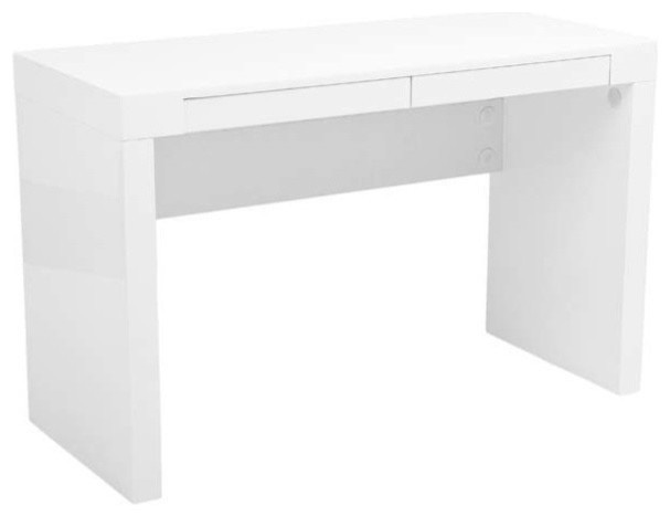 eurostyle donald 2 drawer desk in white lacquer modern desks and
