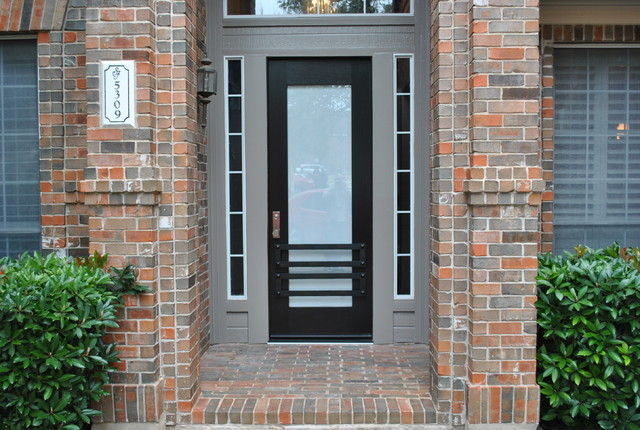 Contemporary Mahogany Entry Door with Decorative Iron grills modern-entry