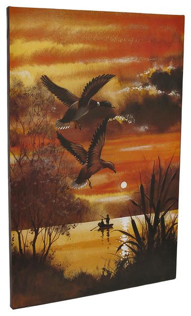 Ducks Over Lake Sunset Canvas Wall Art Print Painting tropical-artwork