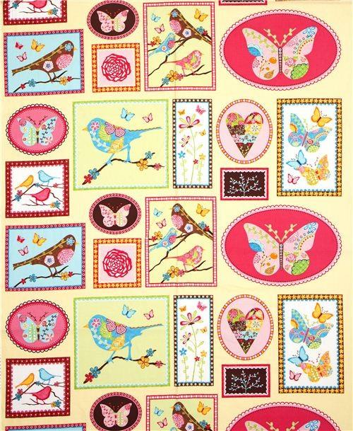 fabric bird butterfly heart rectangular Robert Kaufman fabric
