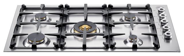 "Bertazzoni 36"" Professional Series Burner Drop-in Cooktop, Stainless | QB36500X cooktops"