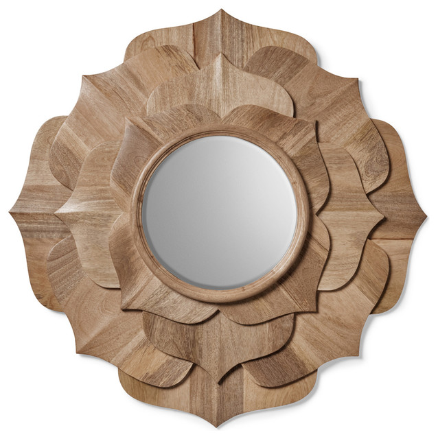 Hand Carved Solid Wood Contemporary Lotus Petal Mirror transitional-wall-mirrors