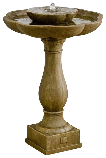 Flores Pedestal Garden Water Fountain traditional-outdoor-fountains-and-ponds
