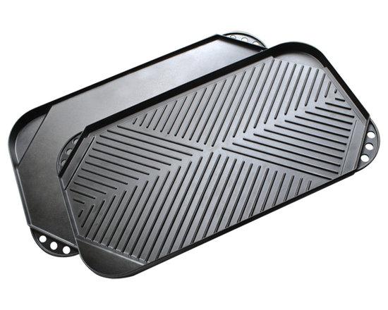 """EPOCA - Kitchen Extras Cast Aluminum 20"""" x 11"""" Double Burner Reversible Griddle - Features:"""