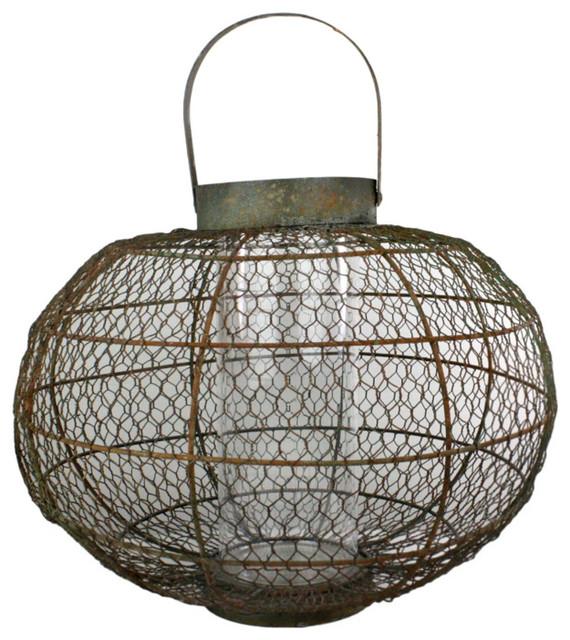 Industrial Globe Party Lantern Medium farmhouse-candleholders