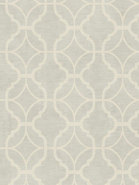 Linen Lattice Wallpaper In Silvery Grey Transitional
