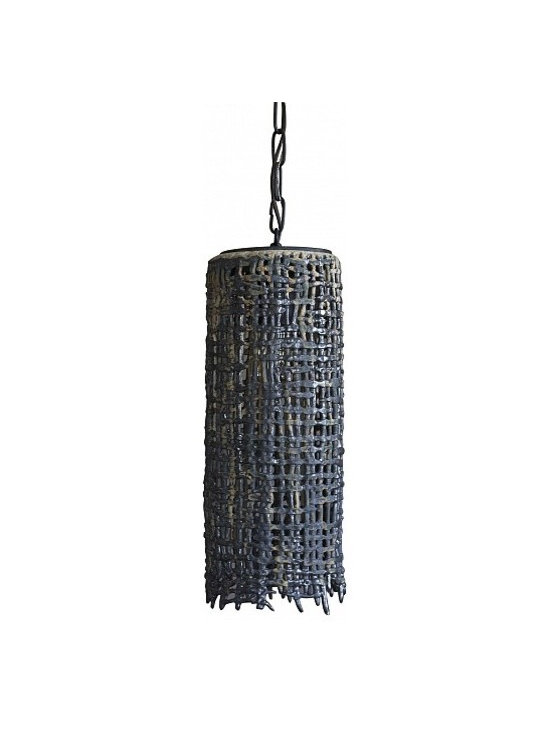 Hanging Basket Weave Tall Pendant by Clate Grunden - Individually unique handbuilt glazed stoneware form in an open basket weave pattern. Shown in a matte verdigris glaze on a white clay body. Includes old iron chain and canopy. Other finishes available