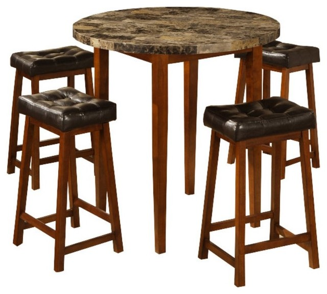 Round Faux Marble 5 pc Counter Height Saddle Stool Dining  : modern dining tables from www.houzz.com size 640 x 574 jpeg 71kB