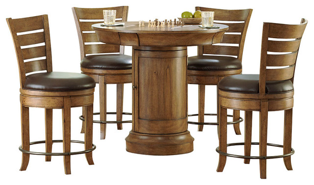 round pedestal pub table set in oak transitional indoor pub and bistro
