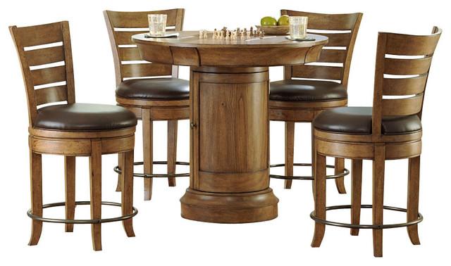 hammary hidden treasures 5 piece round pedestal pub table set in oak transitional indoor pub. Black Bedroom Furniture Sets. Home Design Ideas