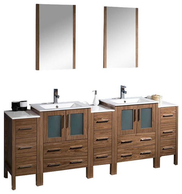 84 Inch Double Bathroom Vanity With Side Cabinets Walnut Brown Integrated