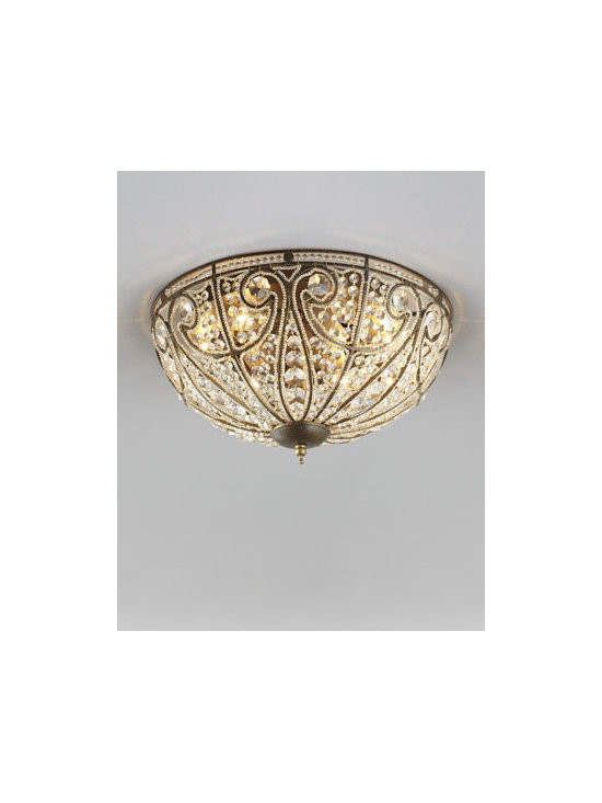 "Horchow - Small Elizabethan Ceiling Light - Inspired by a moonlit vision of St. Paul's Cathedral, this sparkling handcrafted ceiling light glistens with hundreds of crystal beads. Imported. Steel frame with golden finish. Large uses six 60-watt bulbs; 17""Dia x 9""T. Small uses three 60-watt bul..."