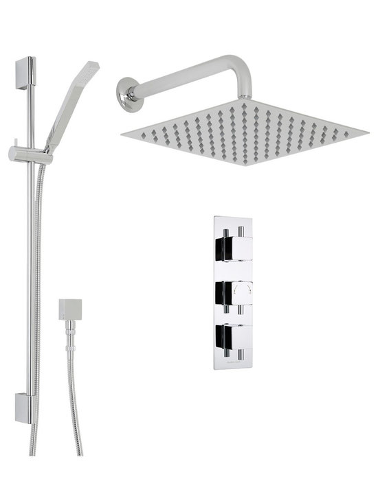 """Hudson Reed - Square Thermostatic Shower System, 12 Head with Wall Arm & Handshower - Supplied with the triple thermostatic shower valve, slide rail kit with handset and the 12 fixed shower head with 13 wall mounted arm, the Square shower system from Hudson Reed provides an amazing showering experience.Constructed from solid brass for long lasting durability, the British made thermostatic valve features ceramic disc technology for smoother control, while the built-in anti-scald device provides complete peace of mind. Hudson Reed Thermostatic Triple Shower Valve Details   Solid brass rough-in valve Made in Great Britain Serviceable check valves and strainers Ceramic Disc Technology Pre-set maximum temperature 104ºf Automatic anti scald device Recommended pressure for best performance 2 to 75 psi  ½ NPT Inlets and Outlets Compatible with standard US plumbing connections Compatible with combi boilers, gravity fed systems, unvented mains pressure systems and for shower pumps Hudson Reed 12 Square Shower Head Details   IAPMO Approved 1/2 NPT inlets Chrome finish Easy clean nozzles 9.5L/min 2.5gpm regulator installed Supplied with 13 wall mounted arm  Warranty: 10 years  Hudson Reed Linear Slide Rail Details   Chrome finish IAPMO approved Easy to fix Includes slimline brass handset  Shower Consists of:     UFG-HR721Triple Valve Body Only Concealed  UFG-HRPS713Slim Triple Trim Plate (Square Flange)   UFG-HRH705Square Temperature Handle with Lever   UFG-HRH706Square Flow Control Handle with Lever  UFG-HRSK701Linear Slider Rail Kit  UFG-HRFH70159"""" Double Lock  UFG-HRH1981/2 Double Check Valve Connector with DW15 Check Valves  UFG-HROE701Square Outlet Elbow  UFG-HRHS703Slimline Brass Handset  UFG-HRSH701Square Thin 12""""  UFG-HRAM701Wall Mounted 13"""""""