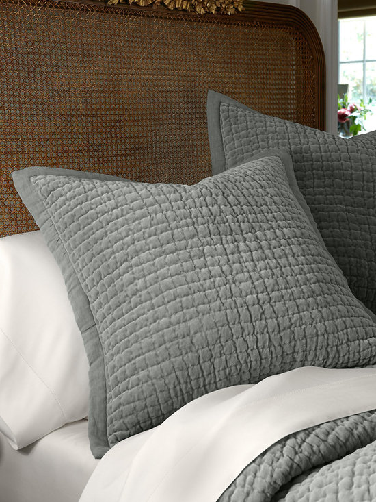 Alexa Velvet Euro Sham - Alexa brings a layer of relaxed luxury and sophistication to the bed. Made from what can only be described as the most delectably soft cotton velvet we have ever felt, you'll be hard pressed to leave your bed on chilly winter mornings! Quilted in hand-stitched channels, a tonal, textural linen border lends it a less formal look. Euro sham is detailed with linen-covered buttons on the back.