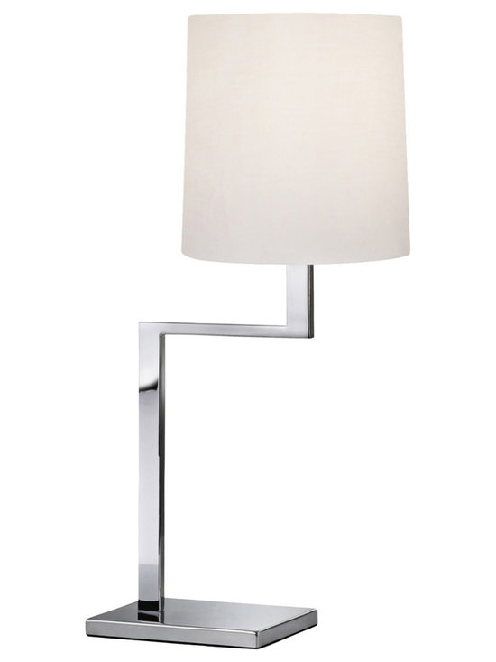 "Sonneman - Sonneman Thick Thin Polished Chrome Mini Table Lamp - The Thick Thin collection of Sonneman lighting boasts handsome angular designs with very subtle style details that go a long way. This contemporary mini table lamp comes in a gleaming polished chrome finish with thick base and neck columns softened by a thin arm. A rounded white cotton shade completes the look for superb balance. Sonneman mini table lamp. Polished chrome finish. White cotton shade. Maximum 100 watt bulb (not included). On/off turn switch. 24"" high. 12"" wide. Shade is 9"" high 8 1/2"" wide. Base is 7 1/2"" wide 5 1/2"" deep.  Sonneman mini table lamp.  Polished chrome finish.  White cotton shade.  Maximum 100 watt bulb (not included).   On/off turn switch.  24"" high.  12"" wide.  Shade is 9"" high 8 1/2"" wide.  Base is 7 1/2"" wide 5 1/2"" deep."