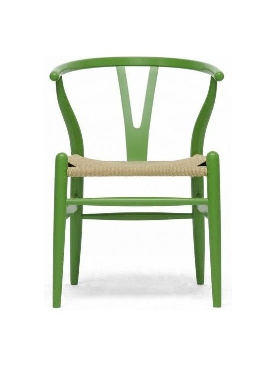Wholesale Interiors - Mid-Century Modern Wishbone Chair in Green Finish - Paired with a modern form, resulting in a unique piece for your home.