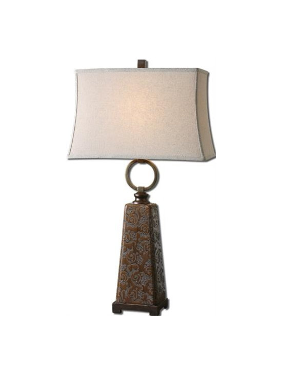 Uttermost Carsoli - Etched ceramic finished in a chocolate bronze glaze with dark bronze metal details. The rectangle semi bell shade is a khaki linen fabric with natural slubbing.