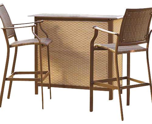 Panama Jack Island Cove Woven 3 Piece Bar Set Traditional Patio Furniture