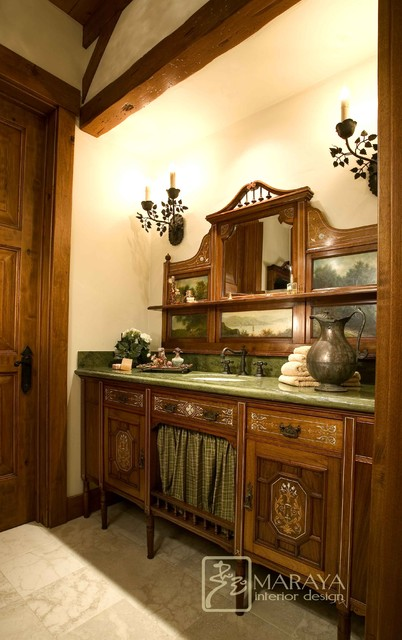 Mountain Ranch with Antique Vanity traditional powder room