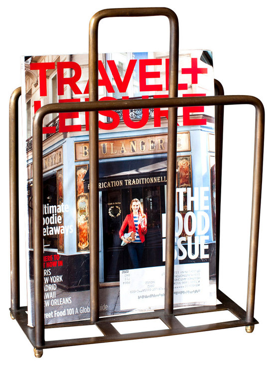 """BoBo's Intriguing Objects - Magazine Holder - Are your People fighting with that New Yorker again? Get them all in line with this vintage-inspired magazine holder. It's made of curvy brass tubes with feet and a center divider that doubles as a handle. Magazines not your thing? It'd make a great """"hot"""" file organizer in your office."""