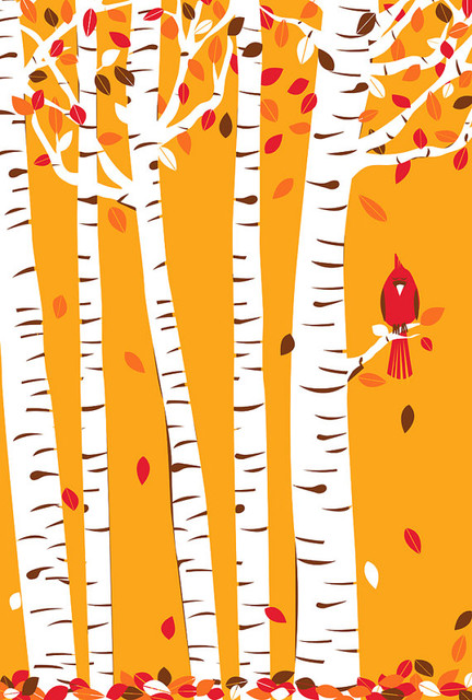 Autumn Cardinal Silkscreen Print by Strawberry Luna eclectic artwork