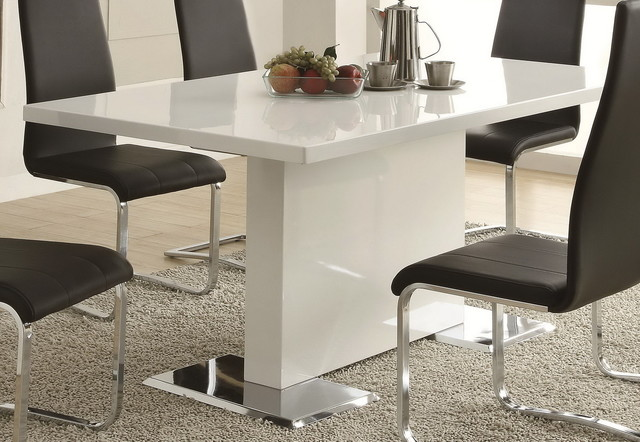 White Dining Table With Chrome Metal Base Modern Dining Tables