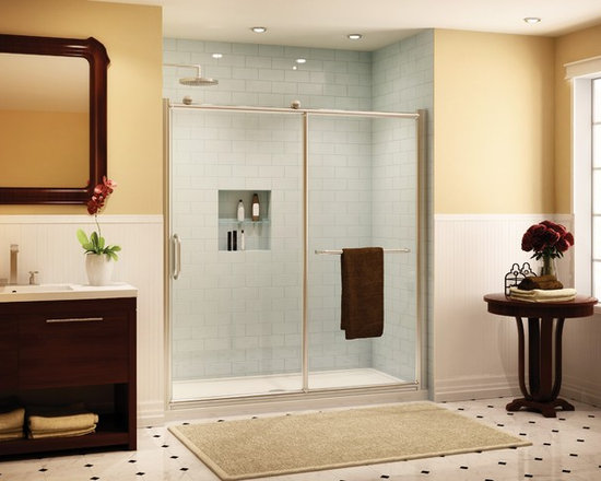 """Fleurco Roma In-Line 46""""-47"""" Door and Panel FRM2-448 - Chrome and brushed nickel anodized aluminum finishes"""