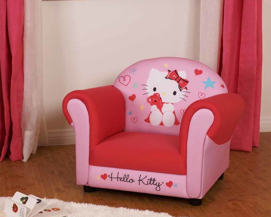 Kids Furniture - Take a seat among colorful hearts and stars with Hello Kitty and her teddy bear. This lively armchair is fully padded for comfort and rests upon solid legs for sturdy support.