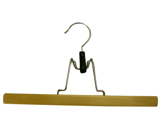 Proman Products - Proman Products Genesis Flat Skirt Hanger in Natural Lacquer - Genesis flat 28X2X1Cm skirt hanger, with ofelt, natural lacquer, chrome hardware, 72Pcs/Ctn
