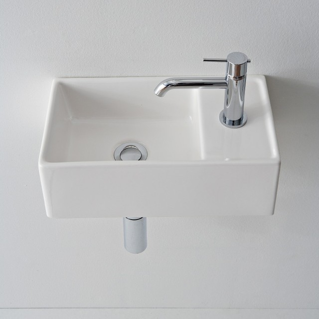Compact Square Ceramic Vessel or Wall Mounted Bathroom Sink ...