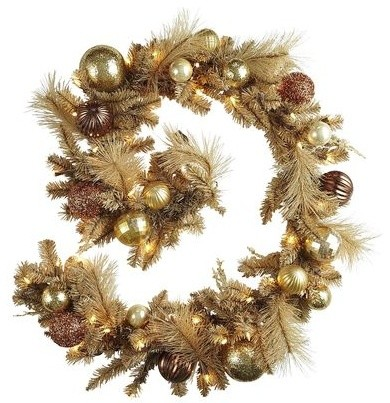 Prelit Garland, Gold traditional-wreaths-and-garlands