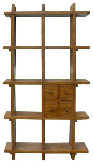 Tall Thick Wood Multiple Shelves Display Cabinet - Rustic - Bookcases ...