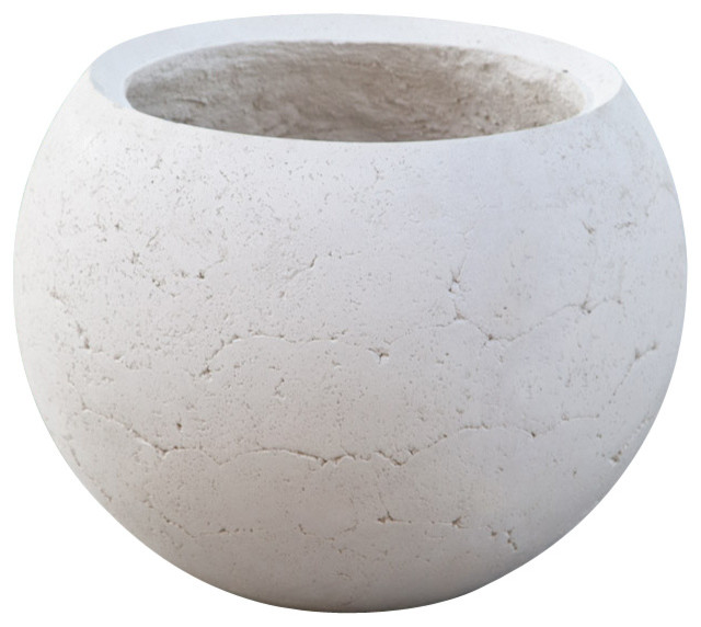 Halley Round Lightweight Concrete Planter Industrial