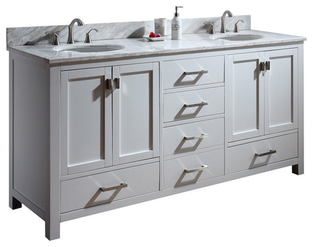 72 Toscana Double Sink Vanity White Traditional Bathroom Vanity U