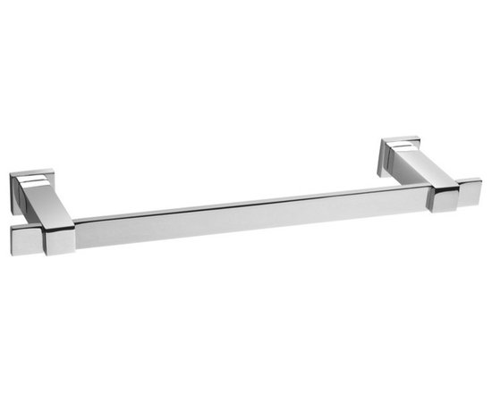 Windisch - Contemporary 23 Inch Chrome Towel Bar - Standard 22.8 inch squared rectangular wall mounted towel bar.