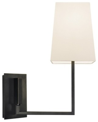 Brass Wall Sconce With Black Shade : Modern Sconce with White Shade in Black Brass Finish - Wall Sconces - by Destination Lighting