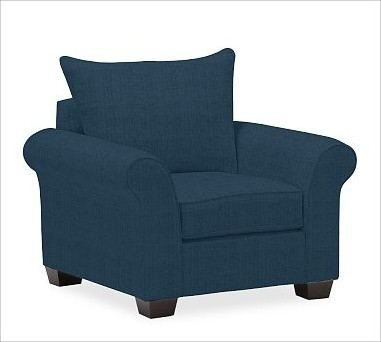 PB Comfort Roll UpholsteredArmchair Knife-EdgeBrushed CanvasHarbor BlueUpholster traditional-armchairs-and-accent-chairs