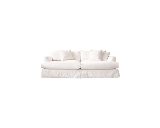 ecofirstart - martha vineyard slipped sofa - Goodwood frame with water-based finish,100% white cotton removable slipcover (fabric swatches are available upon request). fill: poly with foam wrap of which more than 20% is plant based, the core is encased in a down-proof ticking filled with 75% recyclable fiber and 25% feather/down. enviro-fresh washing is performed twice to eliminate dust, dirt and allergens. manufactured by american employee-owned, family and community oriented company, whose goal it is to provide customers with environmentally sound, superior products that can be enjoyed for years to come.