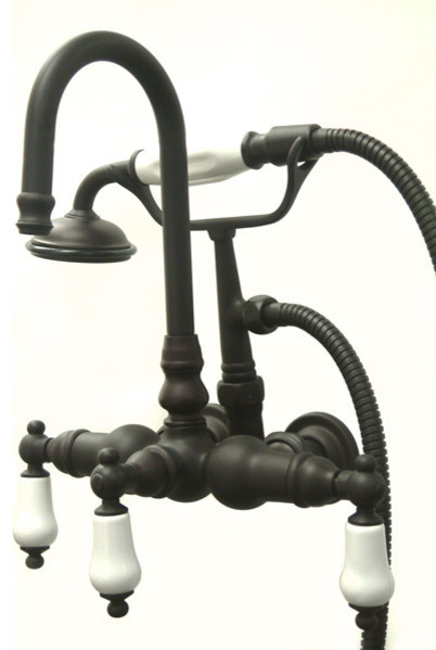 Wall Mount Clawfoot Tub Filler with Hand Shower modern-bathroom-faucets-and-showerheads