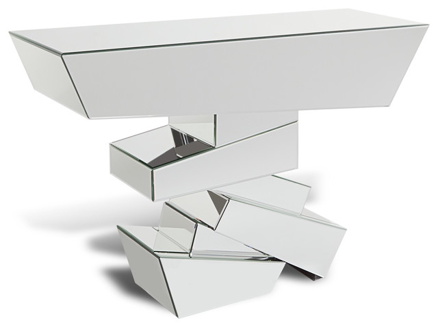 Glass mirrored console table contemporary side tables and end tables