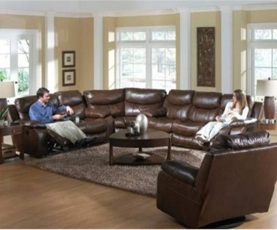 Catnapper Dallas Leather Reclining Sectional - Tobacco - modern