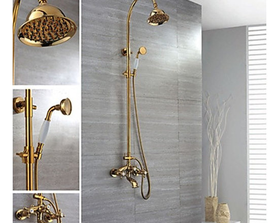 Shower Faucets - Ti-PVD Finish Wall Mount Contemporary Brass Shower Faucets--FaucetSuperDeal.com