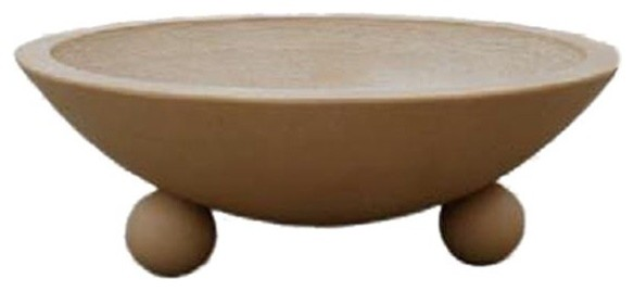 """32"""" Biltmore Concrete Fire & Water Bowls by Grand Effects mediterranean-firepits"""