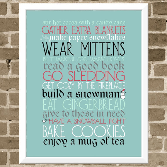 Seasonal Activities Typography Print by Flourish Café modern-holiday-accents-and-figurines