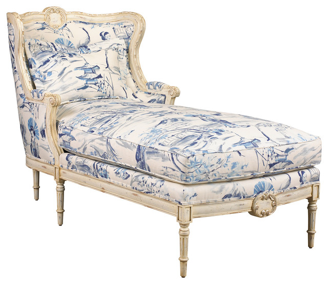 Bayonne French Country Blue Geisha Upholstered Chaise