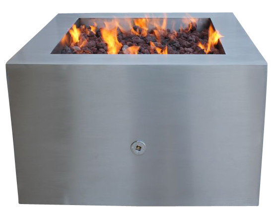 Home Infatuation - Stainless Steel Fire Pit, Pit for Glass & Rock/Propane Gas - This handcrafted outdoor fire pit is constructed entirely of stainless steel and is available for burning wood only or with glass or lava rock using propane or natural gas.