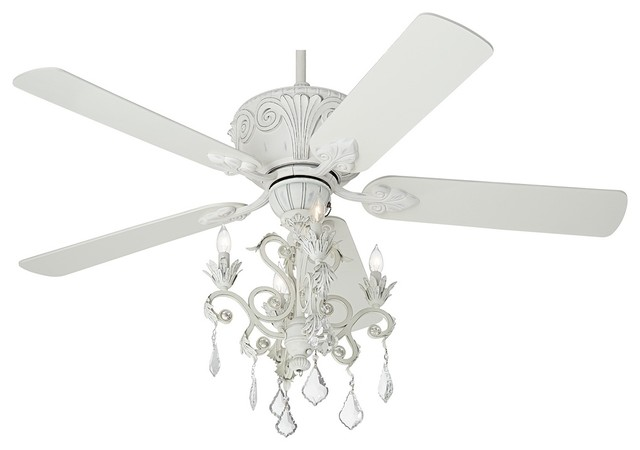 Casa Deville Rubbed White Chandelier Ceiling Fan - Traditional - Ceiling Fans