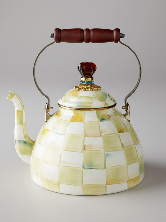 "MacKenzie-Childs - Parchment Check 2-Quart Tea Kettle - MacKenzie-ChildsParchment Check 2-Quart Tea KettleDesigner About MacKenzie-Childs:Established in 1983 MacKenzie-Childs is located on a 65-acre former dairy farm in Aurora New York. Alongside a small herd of Scottish Highland cattle hens and a duck pond artists create ceramic tableware furniture and home accents by hand using time-honored techniques. From enamelware and glassware to furniture and decorative accessories MacKenzie-Childs combines vibrant colors and patterns to create a collection that epitomizes ""tradition with a twist"" that has earned a worldwide following of loyal fans who are drawn to the line's whimsical style and dedication to quality."